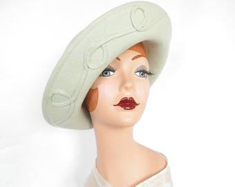 Woman's 1960s hat, vintage XL breton, pastel green, Kathy Jeanne