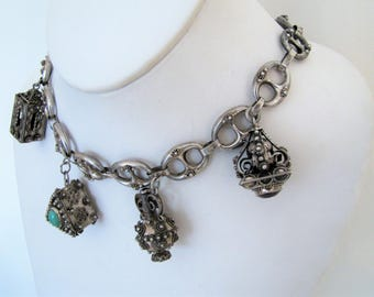 1930s Peruzzi Italy Etruscan Charm Necklace. 800 Silver. Huge Victorian Revival Cannetille Filigree Fob Charms. Art Deco Italian Renaissance
