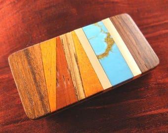 Groomsmen Gift for Wedding - Malachite Wood Money Clip Handmade MC388