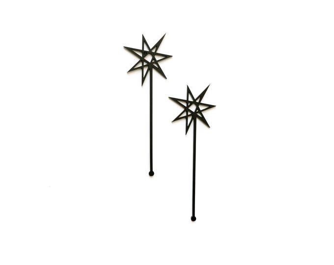 Cosmic Stars, 4 CT., Cocktail Swizzle Sticks, Stir Sticks, Drink Stirrers, Laser Cut, Acrylic