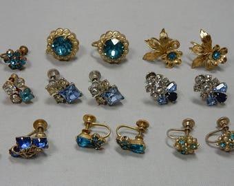 10 pr Blue Rhinestone Screw On Back Earrings Lot: CORO BOGOFF