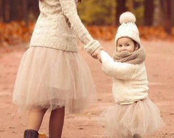 Mother and Daughter Tutu Skirts Set, Beige Mommy and Me Skirts