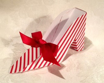 Christmas Candy Cane Red and White Stripe High Heel Shoe Favor Box, Gift Box
