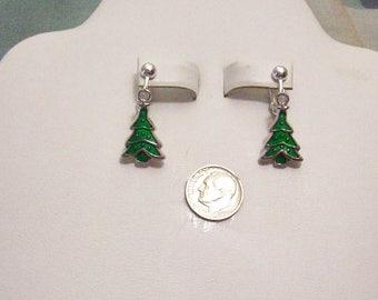 Tibet Silver Green Enamel Christmas Tree Clip On Earrings or Pierced