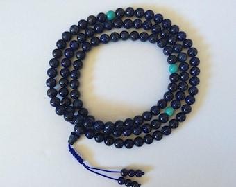 Tibetan Mala Genuine Lapis Lazuli Mala 108 Beads for Meditation