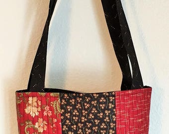 Black & Red Patchwork Tote