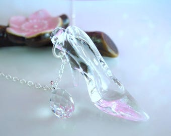 Cinderella glass slipper Swarovski crystal fairytale necklace, once a upon a time birthday party necklace, princess gift