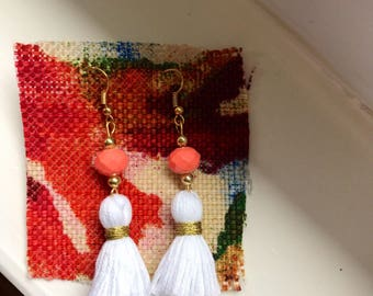 Coral and White Dangle Earrings