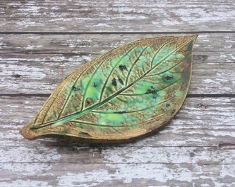 Green Leaf tealight dish, Amber Ceramic candle holder, Spring Leaves alter dish, nature pottery bowl, Leaf ring dish, Nature inspired Home.