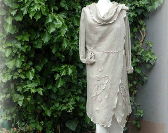 LINEN Cardigan Natural Delikate Grey  With Linen Knitted Eco Friendly Clothing Fancy Linen Cardigan