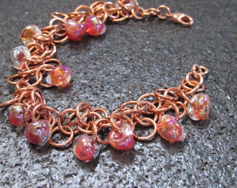 Copper Shaggy Loops Chainmail Bracelet, chain mail bracelet, orange borosilicate glass bead, chain maille bracelet,chainmaille Jewelry,
