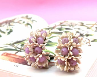Lilac and White Floral Vintage Clip-On Bow Earrings
