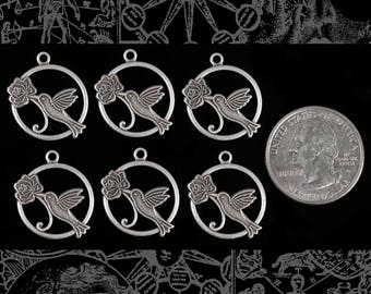 Silver Plated Hummingbird in Flower Charms Three pairs of 2 * S-C128