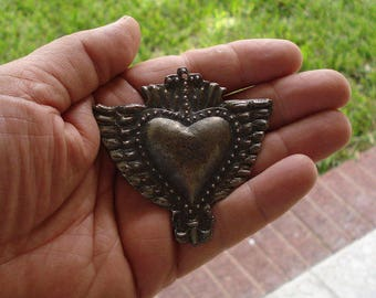 Reserved for Beatrice Adin Sacred Flaming Heart Wings n Cross Charm Milagro Ex voto  Antique Silver
