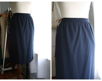 Vintage UNGARO Skirt / 80s Designer Pencil Skirt with Pockets / Navy Blue Wool Flannel / Small 6