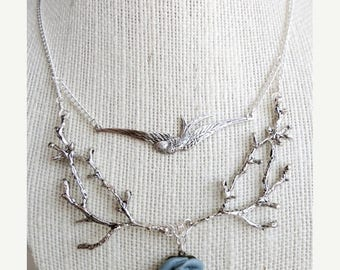 30% OFF Branch / twig & sparrow woodland bib necklace, twig jewelry, whimsical statement necklace, Woodland Clearing