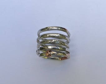 Spiral. Ring in sterling silver and copper.