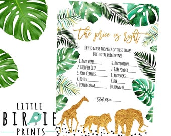 JUNGLE baby shower game The price is right Jungle baby animals game Gold jungle baby shower  Giraffe Elephant Lion The price is right