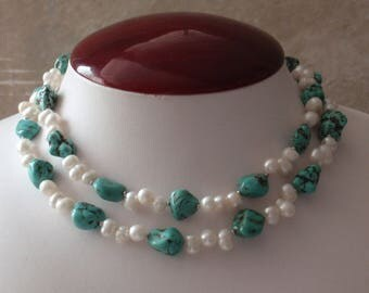 Turquoise Pearl Necklace Earring Set Sterling Silver Clasp Vintage V0523