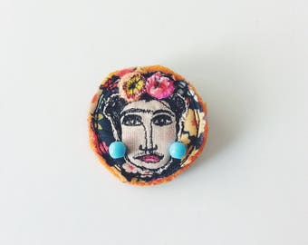 Frida Kahlo - face - brooch - ooak