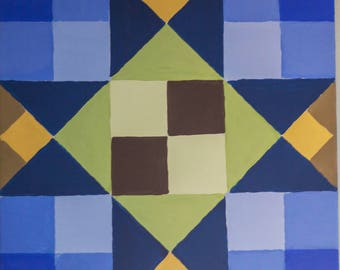 Quilt Block Painting Quilting Art 12x12 Canvas Blue and Green Star