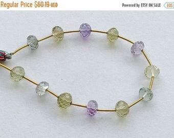ON SALE 55% Multi Color Quartz Beads, Amethyst, Lemon, Green Amethyst Faceted Rondelles, Multi Gemstone Necklace, 8-8.5mm, 12 Pcs - GS3257