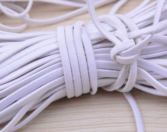 5 Yds Flat White Elastic, 5mm Wide elastic cord, stretch cord string rope, Sewing stretchy string material, Poly braided rubber Elastic rope