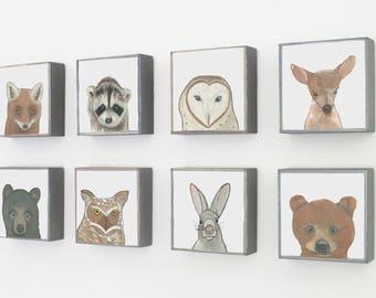 woodland nursery decor, choose 8 designs, forest nursery decor, animal prints, geometric prints, rabbit, deer, fox, redtilestudio, woodland