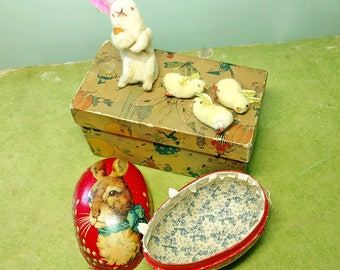 Vintage German Papier Mache Lithographed Easter Egg with Four Adorable Felted Creatures Inside Found in a Beautiful Vintage Mother Goose Box