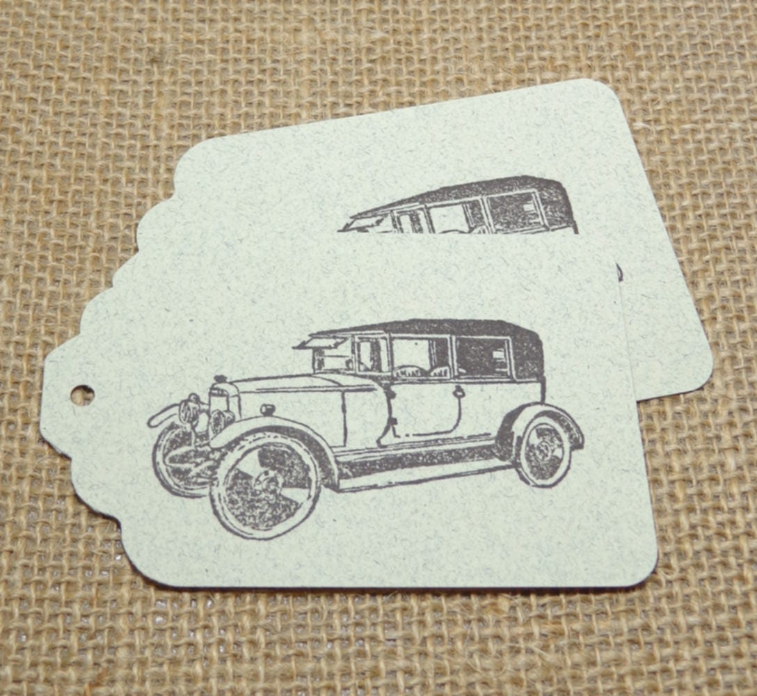 8 Antique Car Large Gift Tags, Dark Brown Cars on Buff Speckled Card ...