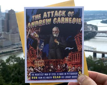 Pittsburgh, Andrew Carnegie, Pittsburgh Cards, Carnegie Library, Greeting Cards, Sci-Fi, Alternate Histories, Retro, Fantasy