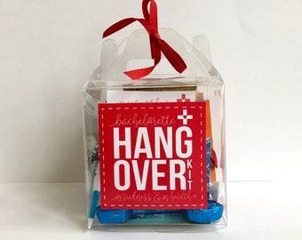 Bachelorette Hangover Kit, Bachelorette Survival Kit, Bachelorette Party Favor, Survival Kit, Bachelorette Recovery Kit, Mini Gable Box