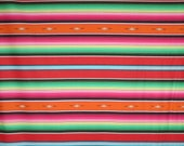 Colorful and Vibrant Red Green and Orange Fiesta Serape Stripe II  Print Pure Cotton Fabric--By the Yard
