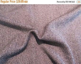 ON SALE Black and Gray Classic Herringbone Tweed Pure Wool Fabric from Italy--One Yard