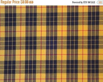 ON SALE Classic Yellow & Black Tartan Plaid Fine Twill Cotton Shirting Fabric--By the Yard