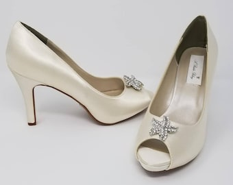 Ivory Wedding Shoes Ivory Bridal Shoes with a Sparkling Crystal Starfish Design -  Over 100 Colors To Pick From