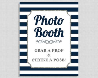 Photo Booth Sign, Navy & White Stripe Baby Shower Sign, Silver Glitter,  INSTANT PRINTABLE