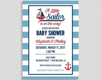 Sailor Baby Shower Invitation, Nautical Baby Shower, Red, White Blue & Invitation, Little Sailor Invite, DIY PRINTABLE