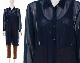90's Navy Blue Sheer Long Duster Blouse Ethereal Blue Semi Sheer Button Down Top Diaphanous Floating Top Small Medium