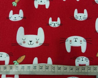 """Rabbit and carrot - 5 colors -1 yard - cotton linen, animal ,tie,fabric, Check out with code """"5YEAR"""" to save 20% off"""