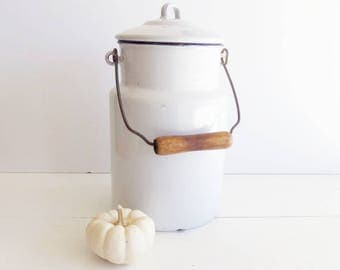 Vintage  White Graniteware Cream Can . Enamelware Milk Can