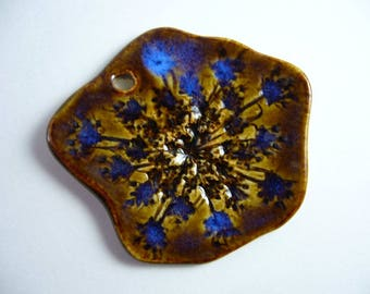 Iridescent Blue Queen Anne's Lace Pottery Pendant