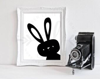 Peekaboo Bunny | Nursery Art | Wall Art | Subway Art | Nursery Decor | 5x7 | 8x10 | 11x14 (GL000127)