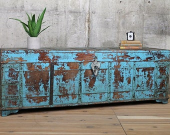 Large Antique Trunk Coffee Table Blue Pitara Box Mudroom Storage Window  Bench Yoga Studio