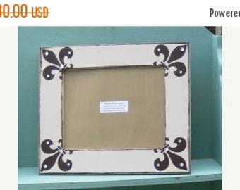 Fun Friday Sale 8x10 hand painted frame in khaki with chocolate brown fleur d' lis