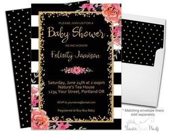 Girls Baby Shower Invitation, Baby Shower Invitation Girl, Floral Baby Shower, Girl Baby Shower, Black and White Stripe, Shower Invitation