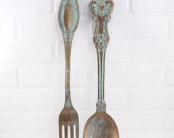 ON SALE Ex large Fork and Spoon Wall Decor / Shabby Chic / Rustic / Kitchen Wall Decor /Patina