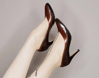 vintage 70s 80s Yves Saint Laurent black and brown high heels size 8.5