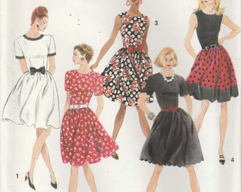 Easy Dress Pattern Fitted Bodice Gathered Skirt Short Sleeve Misses Size 4 - 6 - 8 uncut Simplicity 7890