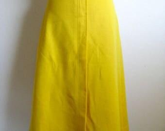 Vintage Alex Colman 70s Skirt Canary Yellow 1970s A-line Jersey Midi Designer Skirt Medium